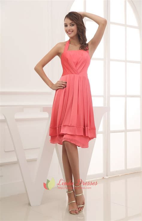 Simple Coral Halter Neck Dress,Cheap Coral Bridesmaid