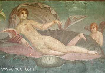 Aphrodite (Venus), goddess of love | Roman fresco from Pompeii C1st A.D. | Archaeological Museum, Naples