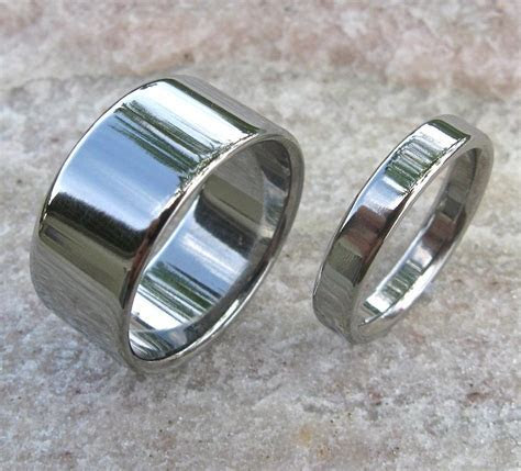 Matching Titanium Wedding Band Set   stn12 ? Titanium