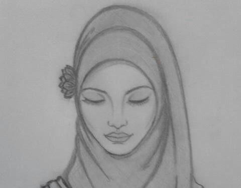 Hijab girl drawing