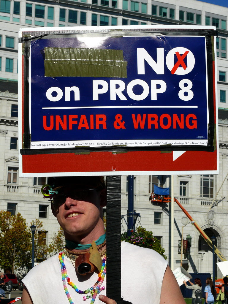 photograph of demonstrator with sign that says No on Prop 8, Unfair and Wrong