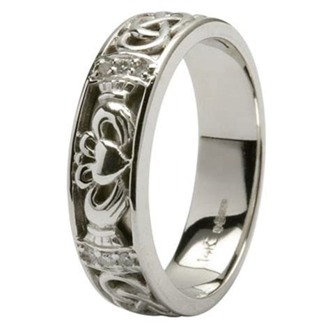 Platinum Diamond Claddagh Celtic Wedding Ring at eIrish.com