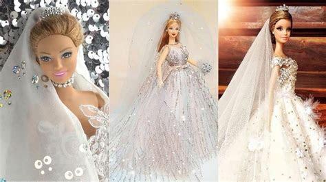 How to Make Barbie Wedding Dresses ?? DIY Barbie Clothes