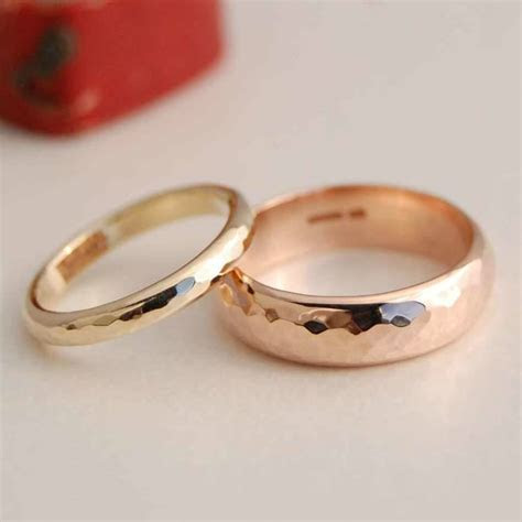 personalised solid gold wedding band set by alison moore