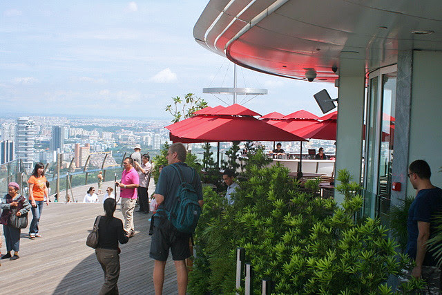 Outside, you have the SkyBar overlooking the observation deck