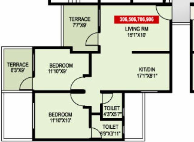 "Paranjape Schemes' Madhukosh, Dhayari, Sinhagad Road, Pune - 2 BHK Flats - Room Sizes - 11'10""x10' - 11'10""x9'"