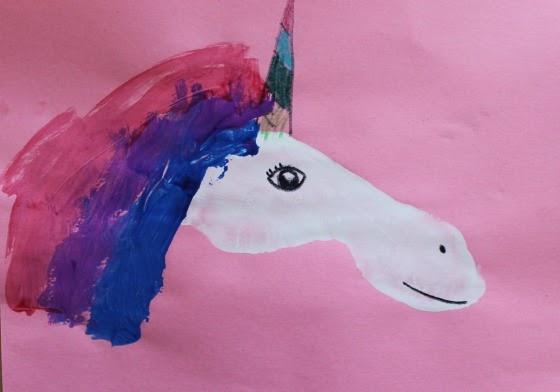 preschool crafts for kids footprint unicorn horse craft