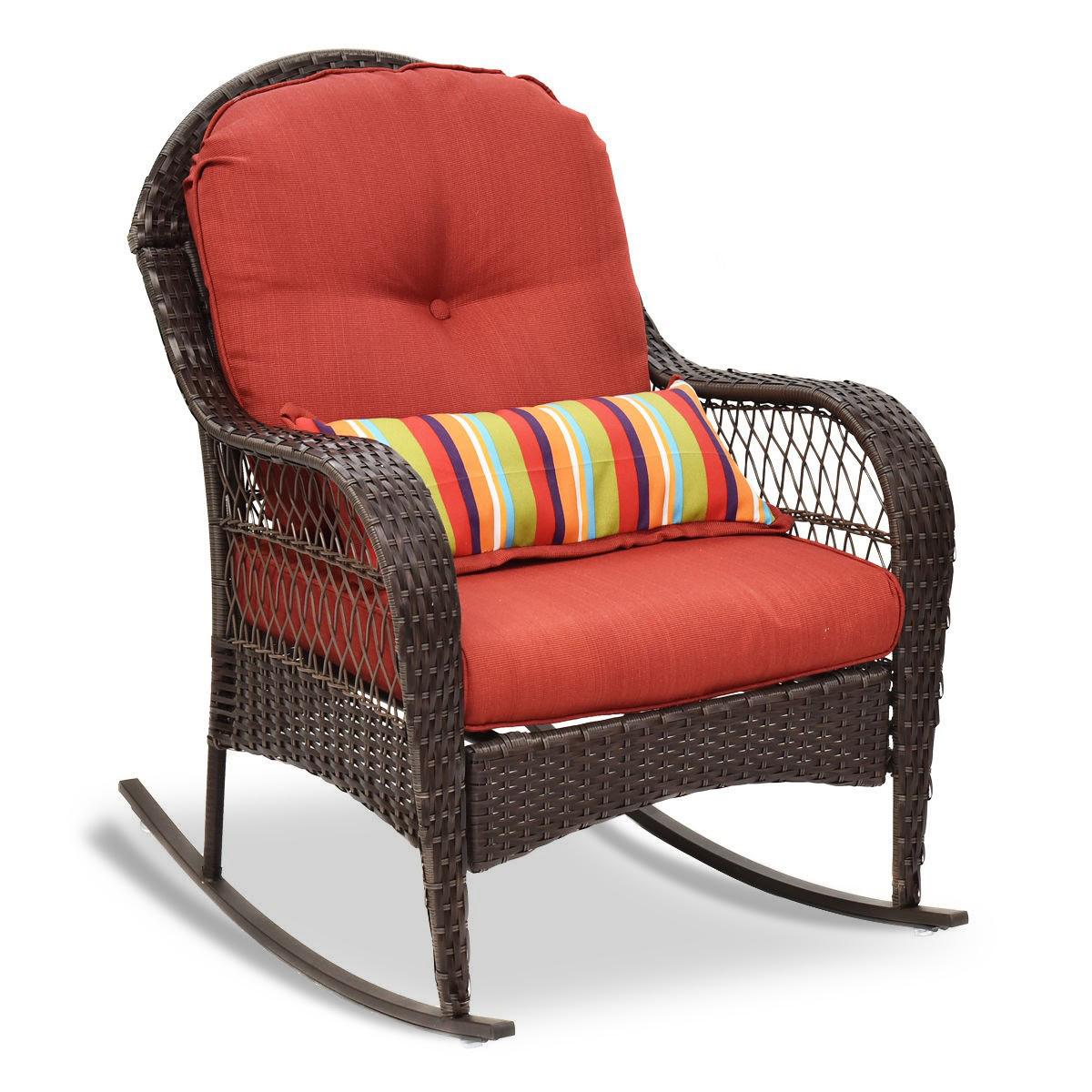 Outdoor Wicker Adirondack Chair W Seat Cushion