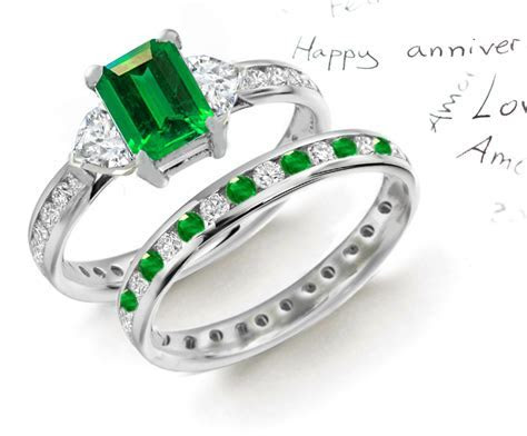Designer Colored Gemstone Engagement Rings Wedding Rings Sets