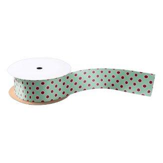 Dark Red Polka Dots on Mint Green Ribbon Satin Ribbon