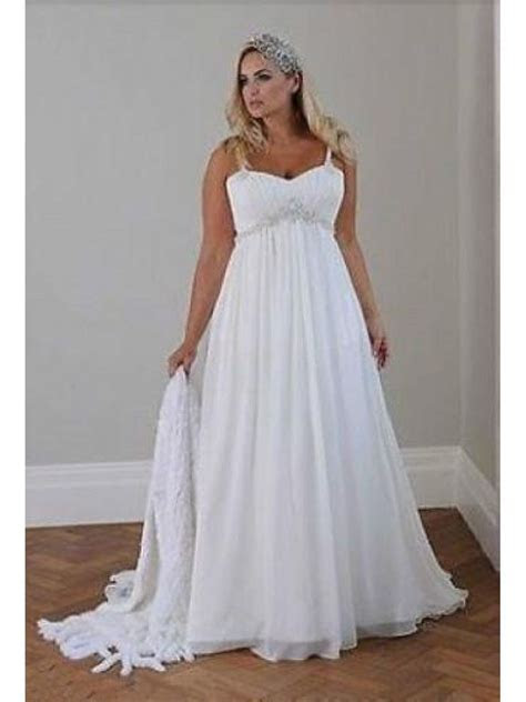 Empire Chiffon Plus Size Maternity Wedding Dresses Bridal