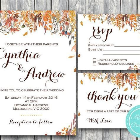 Fall Autumn Wedding Invitation, RSVP, Engagement Party Invite