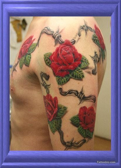 Red Rose Flowers And Barbed Wire Tattoo On Left Half Sleeve For Men