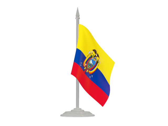 Flag With Flagpole Illustration Of Flag Of Ecuador