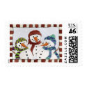 Three Snowmen Postage Stamp stamp