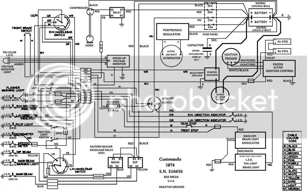 Negative earth wiring diagram | Norton Commando Motorcycle ...
