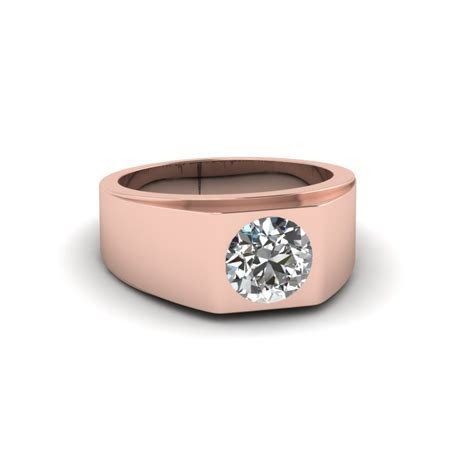 Tapered Solitaire Mens Wedding Ring In 14K Rose Gold