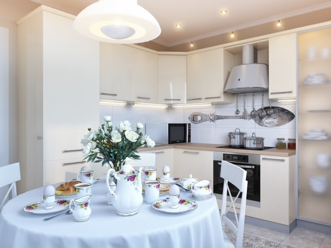 cream white kitchen dining room