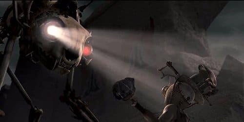 He aquí un mal robot de un solo ojo.