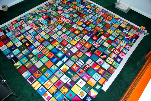 Laying out my 2011 block a day quilt. by 1toefeather1