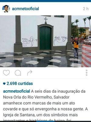 Prefeito de Salvador comentou pichação em post no Instagram (Foto: Reprodução/Instagram)