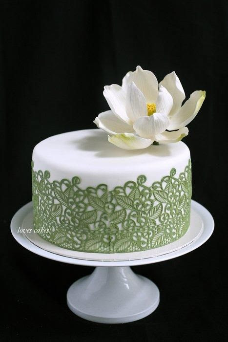 Elegant Birthday Cake with White Lotus