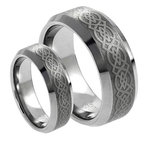 His & Her's 8MM/6MM Tungsten Carbide Celtic Knot Design