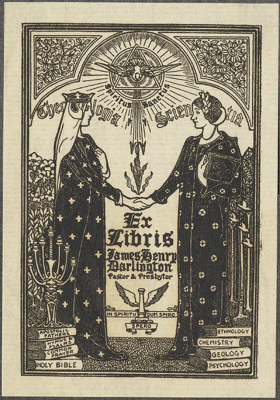 Art Nouveau ex libris illustration - theosophical imagery + 2 women in mu-mu style ritual dresses