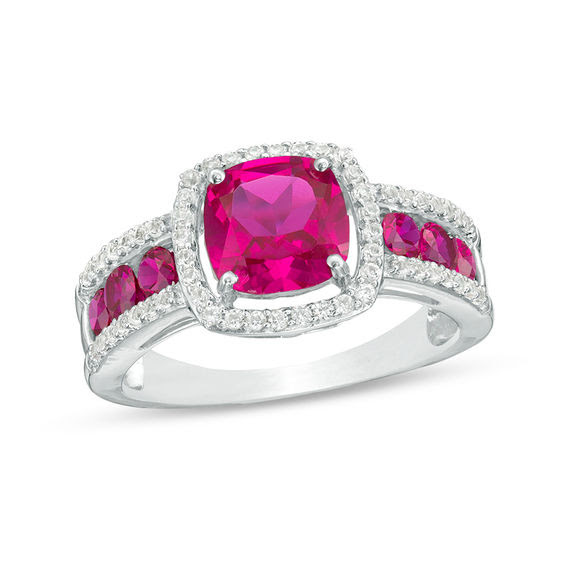 70mm Cushion Cut Lab Created Ruby And White Sapphire Frame Ring In