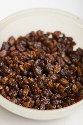 Stollen in the making: rum-soaked raisins