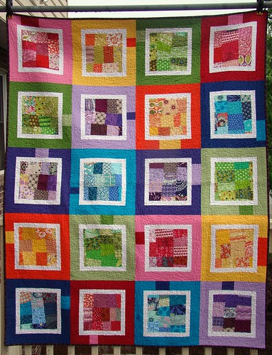 scrappy rainbow quilt