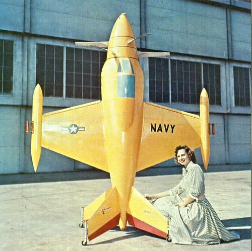 Model of Lockheed XFV-1 VTOL POGO Navy fighter