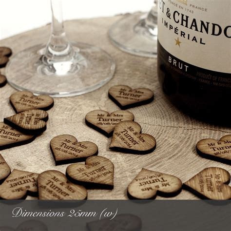 Personalised Wooden Heart Table Decorations, Rustic