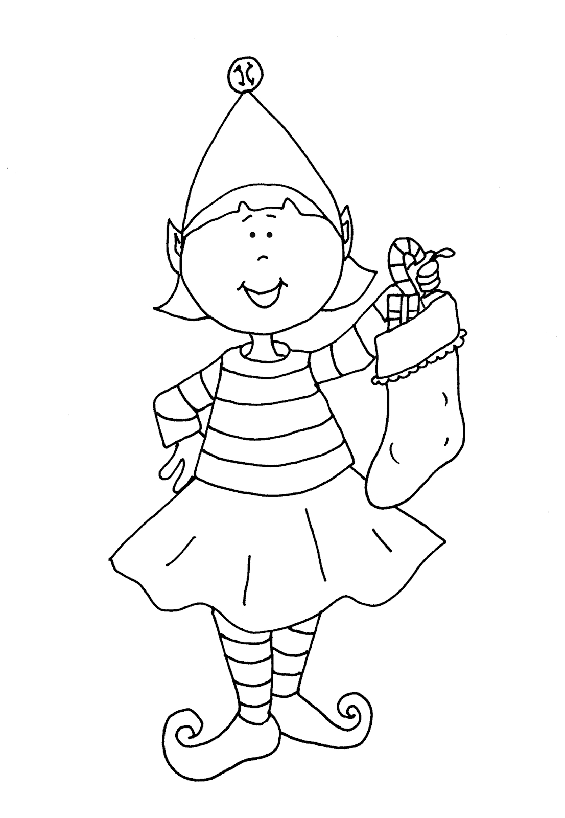 Free Christmas Elf Coloring Pages For Kids Drawing With Crayons