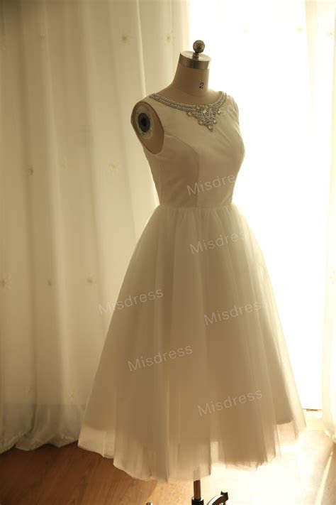 Vintage Inspired Ivory Cotton Tulle Wedding Dress By