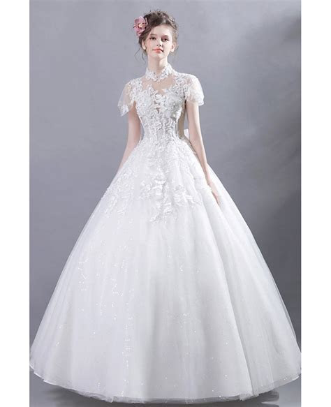 Retro High Collar Court Ball Gown Wedding Dress Lace With