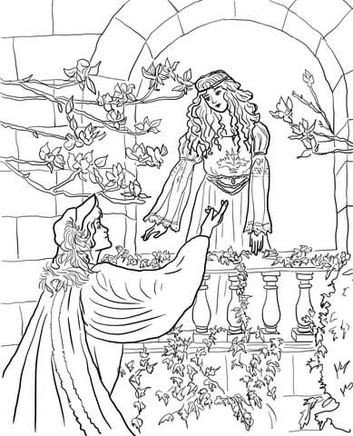 Romeo Speak To Juliet On The Balcony Coloring Page Free Printable