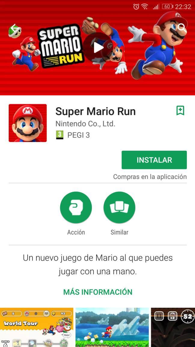 Captura de Google Play de Super Mario Run