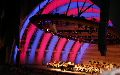 The Hollywood Bowl all lit up at night