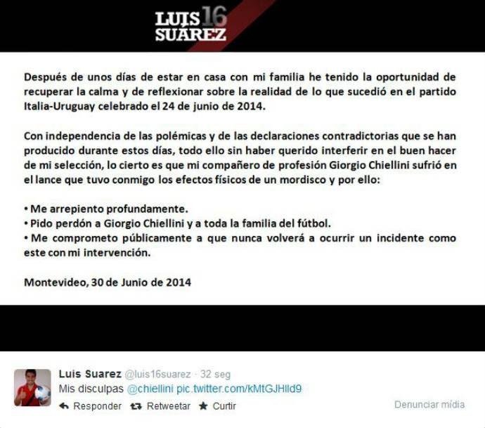 Luiz Suárez pede desculpas a Chiellini (Foto: Reprodução)