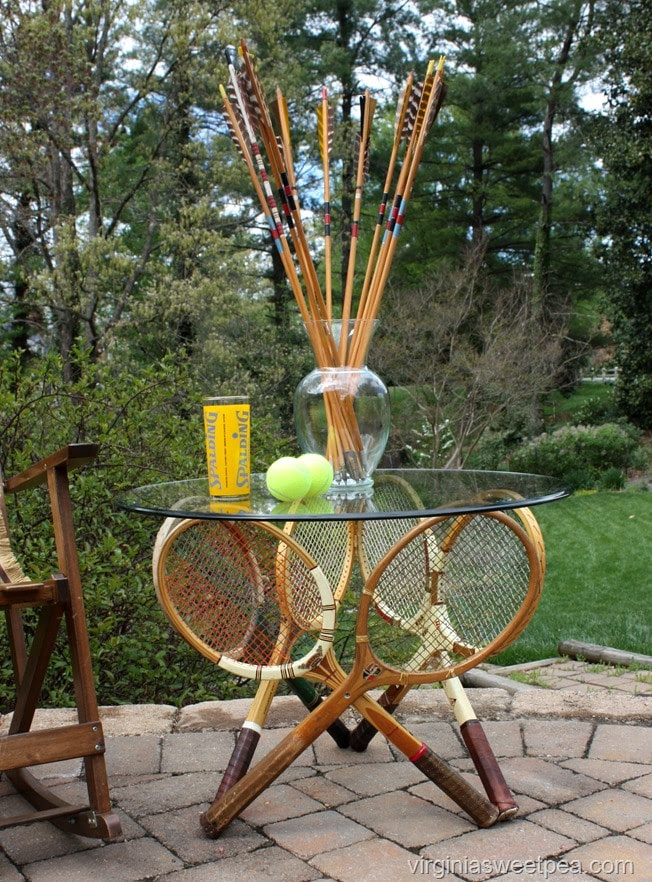 Vintage Tennis Racket Table - Learn how to make a table base with six vintage tennis rackets. virginiasweetpea.com