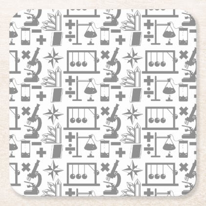 Science Biology Physics Geography Math Pattern Square Paper Coaster