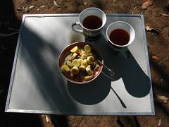 Porridge with banana and a mug of tea. [IMG_5091]