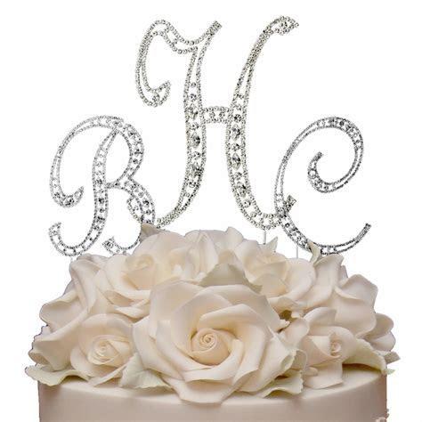 Vintage ~ Swarovski Crystal Monogram Wedding Cake Topper Set