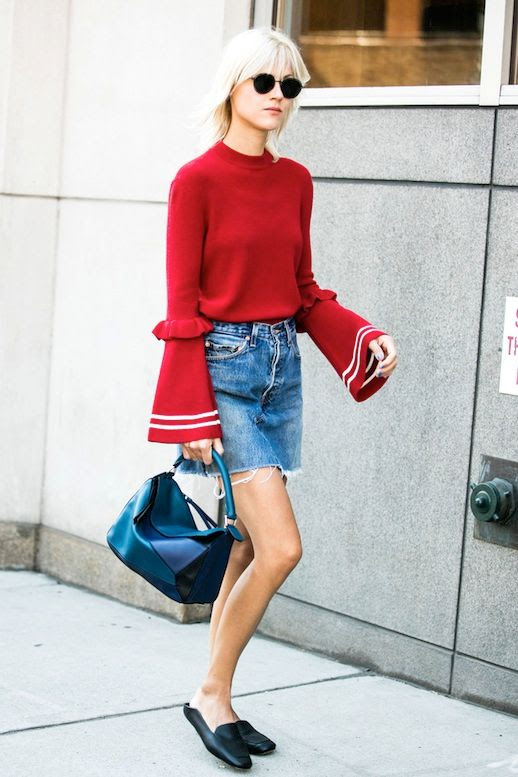 Le Fashion Blog Fall Street Style Nyfw Blonde Short Hair Sunglasses Red Flared Sleeve Knit Mini Jean Skirt Loewe Bag Black Mule Flats Via Vogue Paris