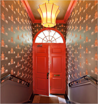 Katie Ridder covered the entrance to this year's Kips Bay Decorator Show House in her Pagoda wallpaper.