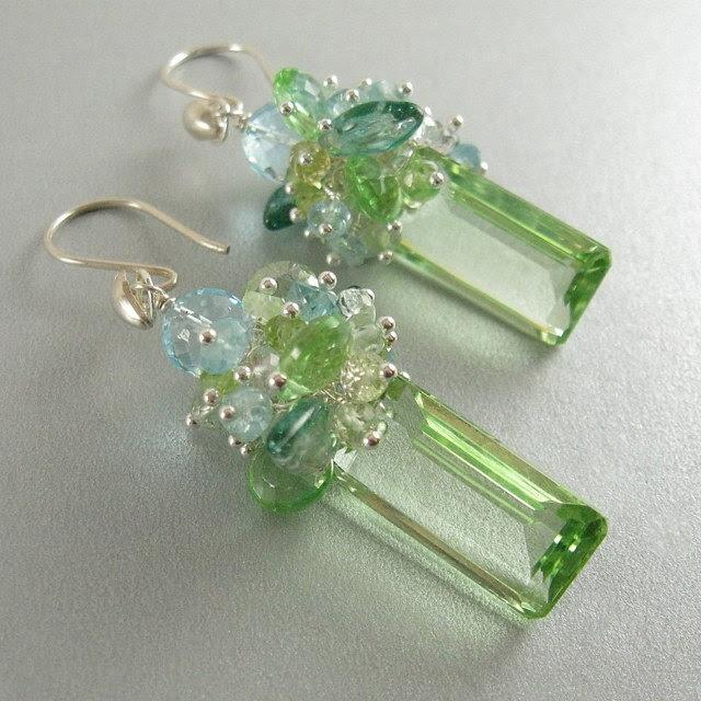 Green Quartz, Blue Zircon, Blue Topaz and Vintage Glass Leaves. $179.00, via Etsy.