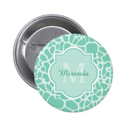 Chic Mint Green Giraffe Print Monogram and Name 2 Inch Round Button