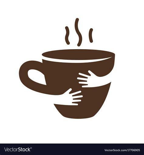 creative coffee  tea cup  hands logo design vector image
