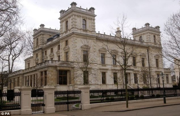 This house in Kensington Palace Gardens, west London, was bought by multi-billionaire steel magnate Lakshmi Mittal in 2004. He paid a record £70 million for the 12 bedroom mansion